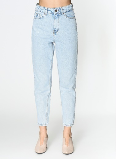Loves You Kar Yıkama Yüksek Bel Mom Jean Pantolon Mavi